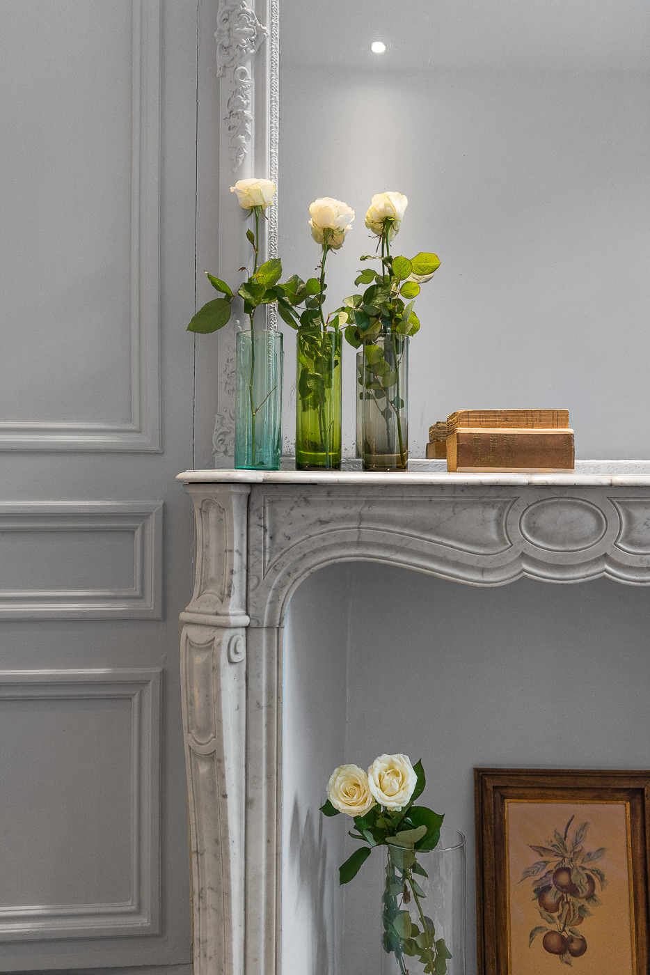 architecte Lille PLUX rénovation et restructuration d'une demeure de caractère maison de maitre cheminée moulure parquet brique chambre hotel gite airbnb décoration intérieur (4)